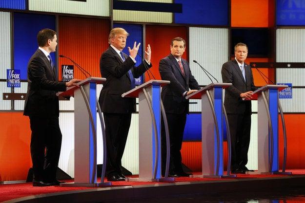 Rubio (far left), Trump, Cruz, and Kasich