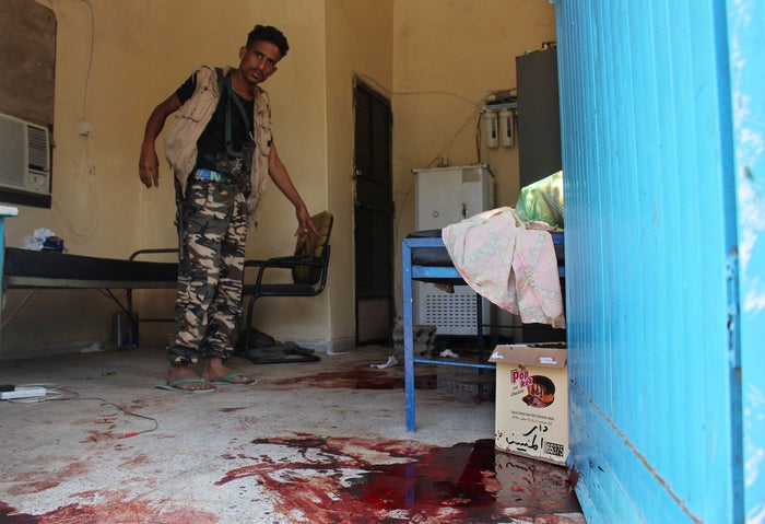 A Yemeni man inspects the elderly care home.