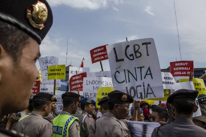Pro-LGBT activists protest on February 23, 2016 in Yogyakarta, Indonesia
