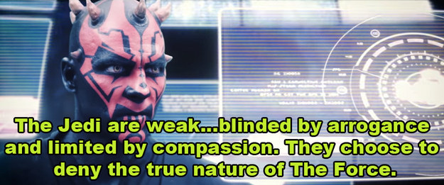 ...ya know, his same ol' spiel about how the Jedi need to embrace the dark side and whatnot.