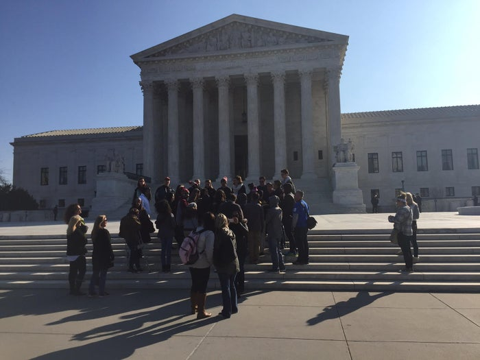 A group from northern California visits the Supreme Court on Monday, March 7, 2016.