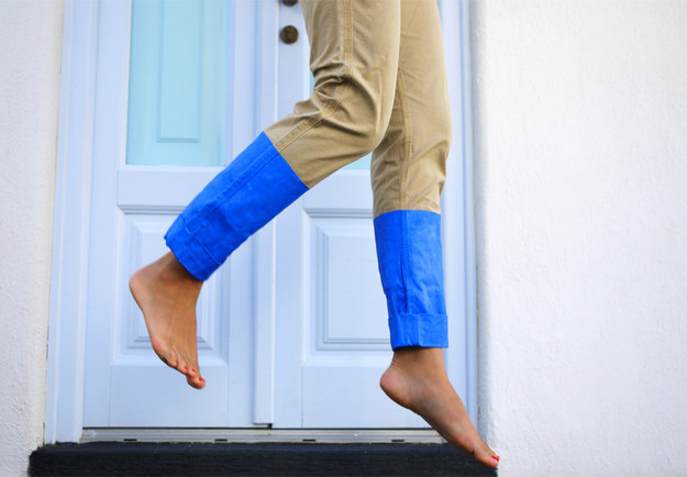 Give an old pair of chinos a splashy makeover: