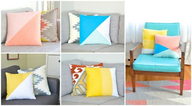 Easily shake up your living room by updating your throw pillows: