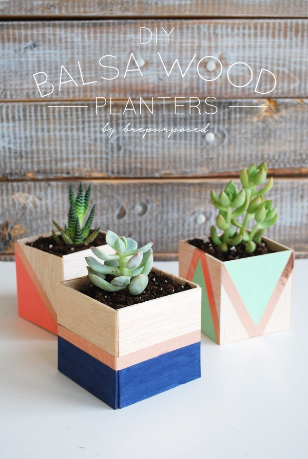 Craft some striking planters with geometric colorblocking: