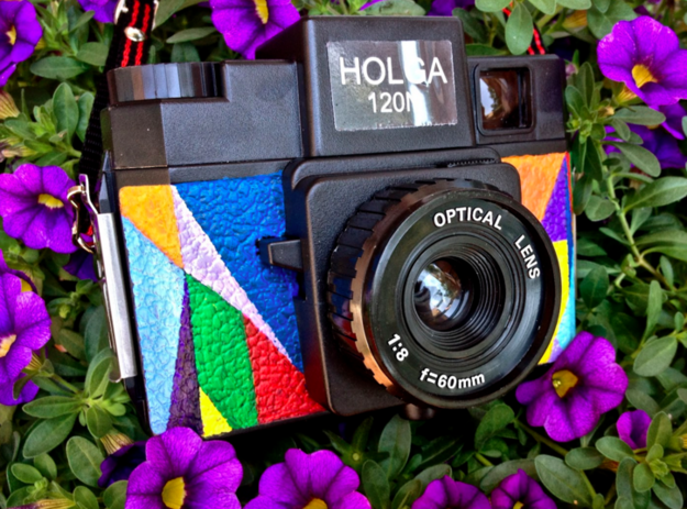 Personalize a vintage camera with your own colorful pattern: