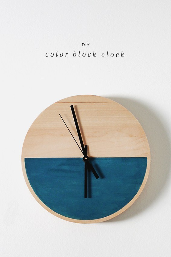 Be colorful only half the time with a colorblock clock:
