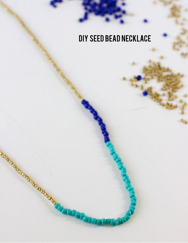 Accessorize boldly with this colorblock beaded necklace: