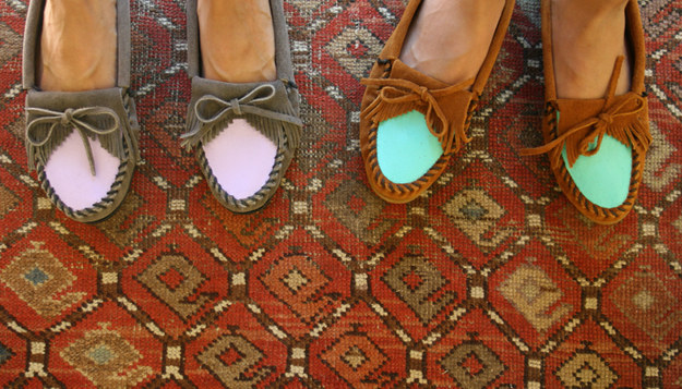 Instantly update your well-loved moccasins with some unexpected color: