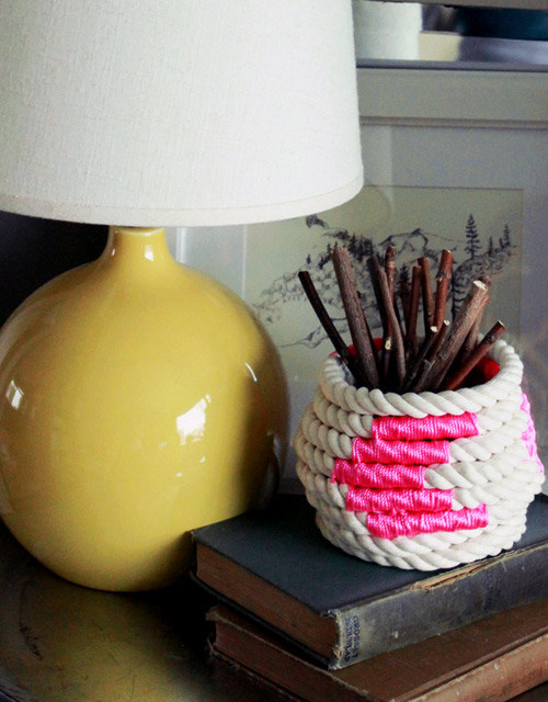 This coiled-rope basket is even cuter with a pop of color: