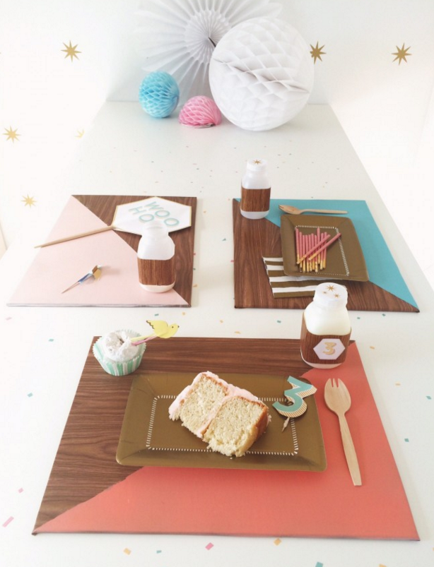 Get fancy with these ~faux bois~ colorblock place mats: