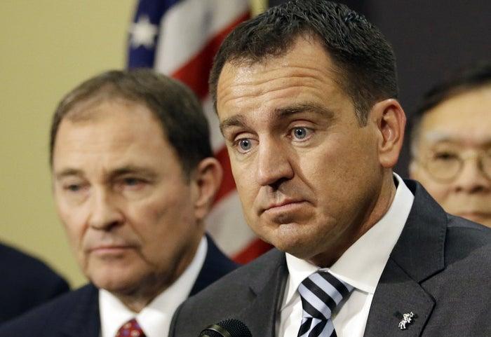 Utah House Speaker Greg Hughes, right, and Utah Gov. Gary Herbert, left, at a news conference in Salt Lake City.