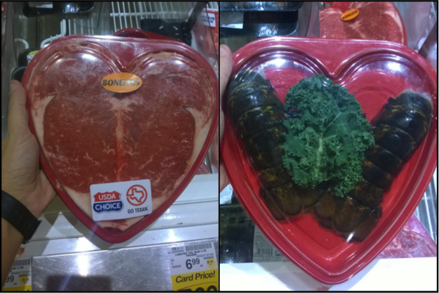 When you could get a heart-shaped steak for Valentine's Day.