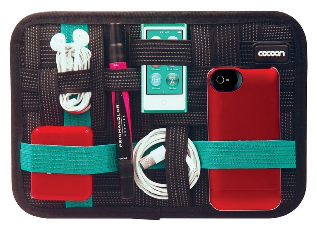 Use this tablet pouch that has elastic bands on the outside to hold all of your gadgets in one place.