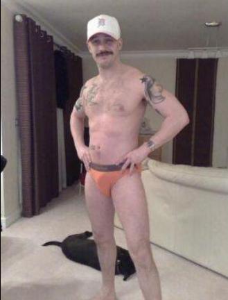 in his underwear