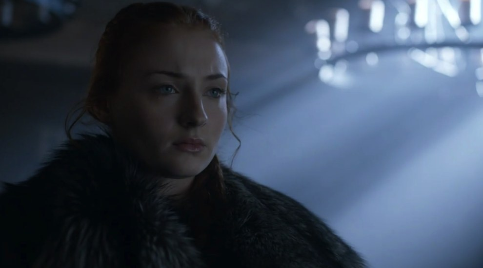 Last time we saw Sansa she was escaping from Winterfell, but here she is all warm and dry and wearing furs. So where is she?
