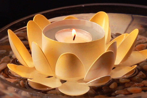 get zen af with these diy lotus candle holders - Diy Candle Holders