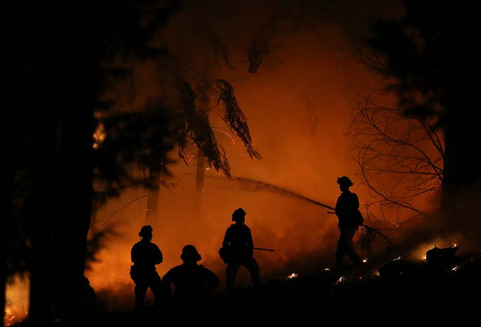 Firefighters battle the King Fire in September, 2014.