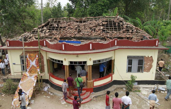 The damaged temple on Sunday.