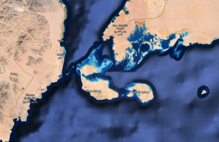 Tiran and Sanafir islands are strategically located on the Red Sea between Egypt and Saudi Arabia.