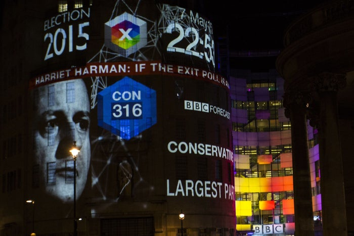 The night the polls got it wrong: Last May's exit poll prediction on the side of the BBC in London.