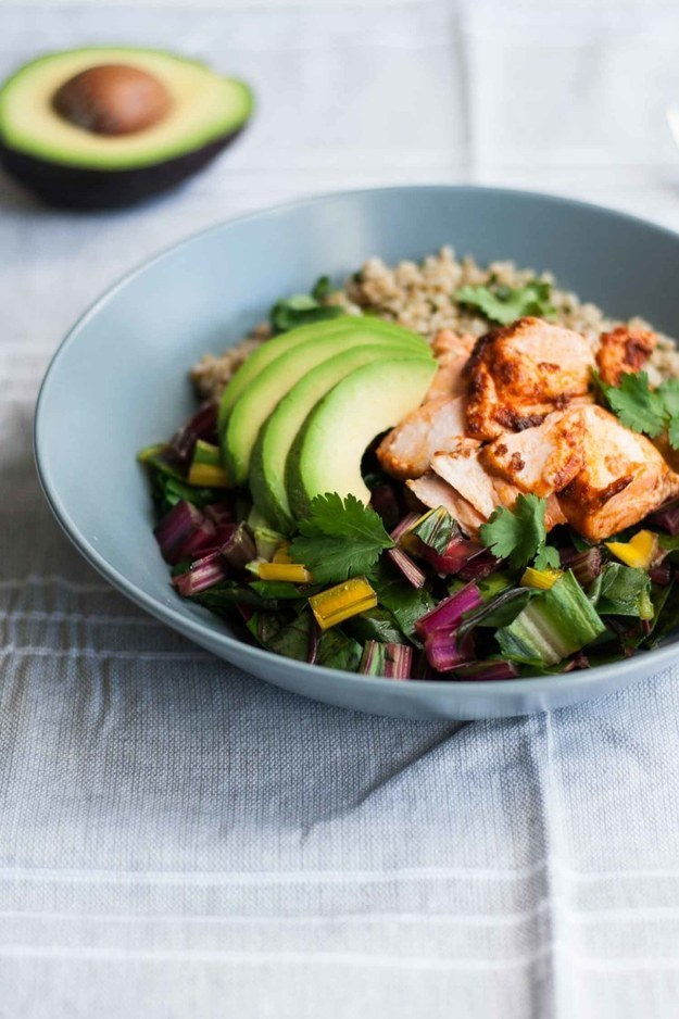 Baked Chipotle Salmon With Freekeh, Chard, and Avocados