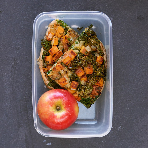 Kale, Sweet Potato, and Onion Frittata with an Apple