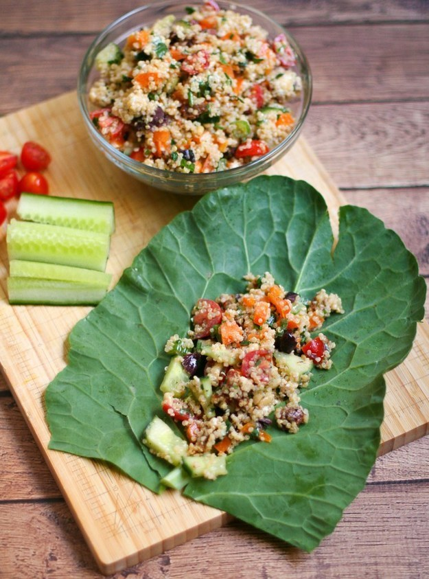 Quinoa Tabouleh Collard Green Wraps