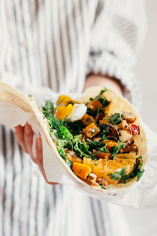 Easy Lunch Wrap With Sweet Potato, Hummus, and Greens