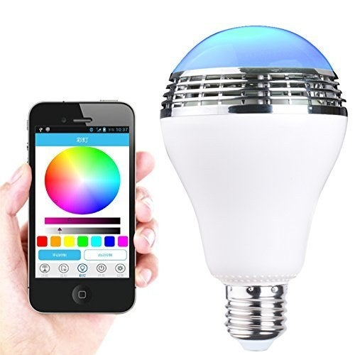 """Most promising review: """"This light bulb is smart, so my iPhone can control just about everything it does. Yes, it can be your basic white light, but it can also dance in colors to music and sound; it can rotate through a spectrum of colors and I can control everything."""" —The Stuff of Success Get it here."""