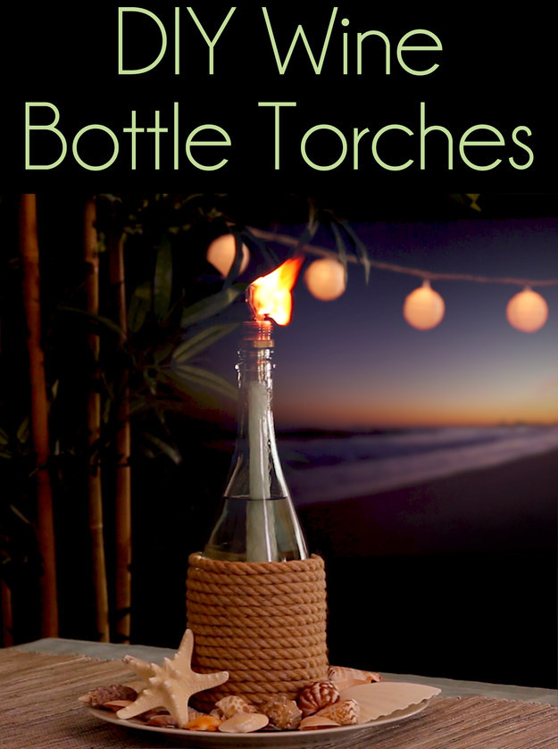 Reuse old wine bottles as incredibly cute tiki torches for Diy beer bottle tiki torches