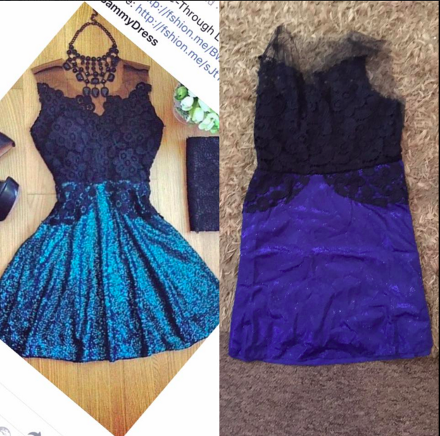 Posted by a user to the Sammydress Facebook page — what she ordered (left) and what she received (right).