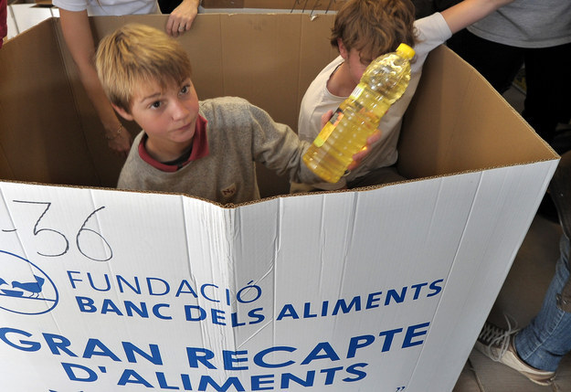 This young man from Barcelona helping collect food for the poor.