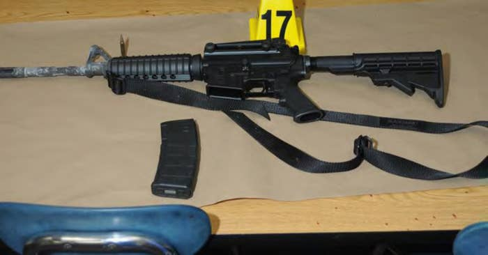 A Bushmaster rifle belonging to Sandy Hook Elementary school gunman Adam Lanza in Newtown, Connecticut is seen after its recovery at the school in this police evidence photo released by the state's attorney's office November 25, 2013.