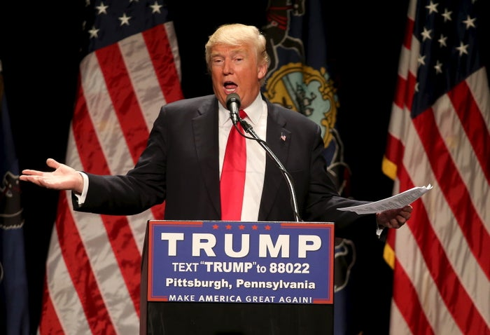 Republican U.S. presidential candidate Donald Trump speaks at a campaign rally in Pittsburgh, Pennsylvania.