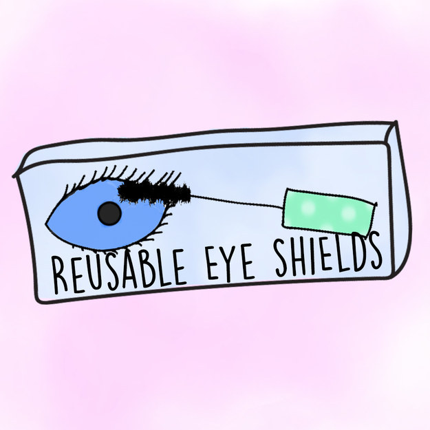 Small goggle-like shields that protect your eyeball when you're doing your mascara.
