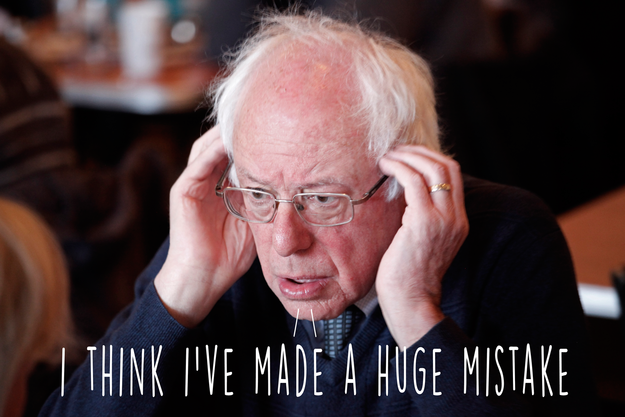 Here are 13 times Democratic Presidential Candidate Bernie Sanders regretted making that same decision.