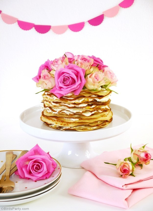 Crepe Cake with Rosewater & Marmelade Cream