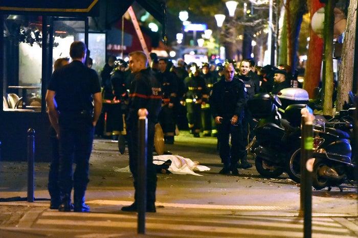 A body outside the Bataclan on Nov. 13.