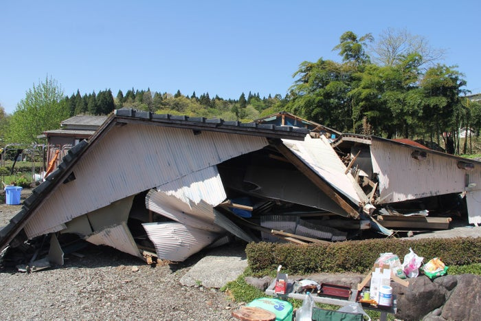 A collapsed shed.
