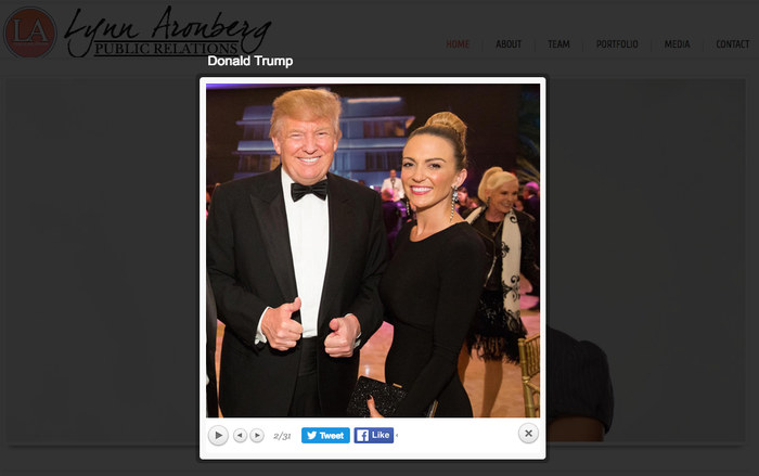 Donald Trump is seen with Lynn Aronberg in those photo of the website of Lynn Aronberg Public Relations.