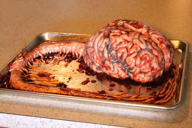 "She makes totally edible cakes that take on very unique forms, like this ""brain"" with the stem attached."