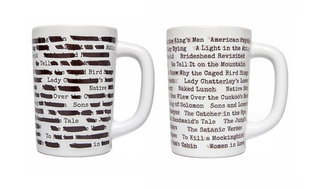 "This cool banned books inspired mug with ""censoring"" that'll disappear as it's filled with hot coffee or tea."