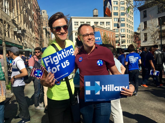 "Jonathan Pearson, right, said at a rally on Sunday, ""I think that LGBT people are for Hillary, especially in New York."""