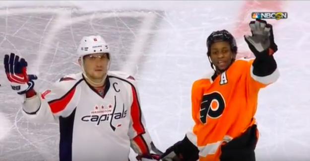 Flyers right winger Wayne Simmonds tried to tell fans to cool it. He even stood with Alex Ovechkin of the Capitals on the ice, waving their hands in disbelief.