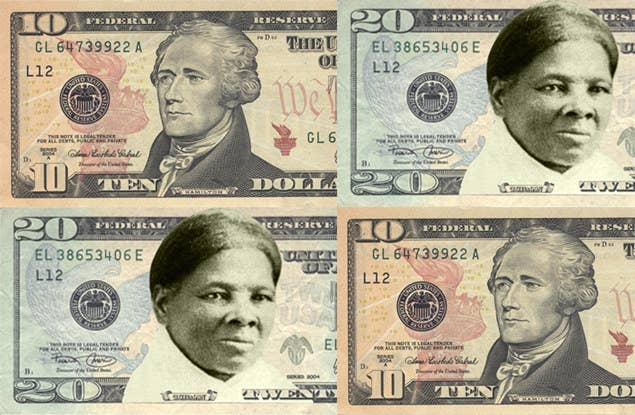 The current $10 bill, along with an unofficial mockup, designed by the group Women on 20s, of what the $20 could look like.