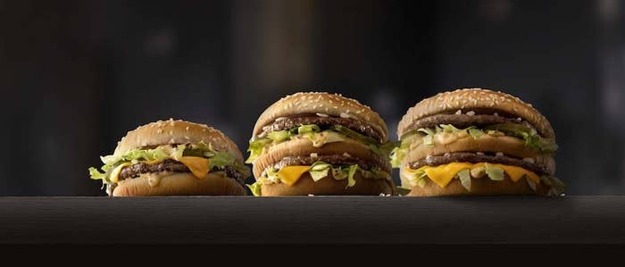 Big Mac sandwiches (left to right: Mac Jr./Big Mac/Grand Mac)