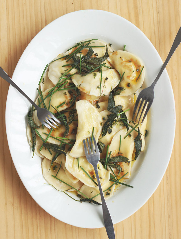 Classic Potato Pierogies with Herb Butter and Crispy Sage