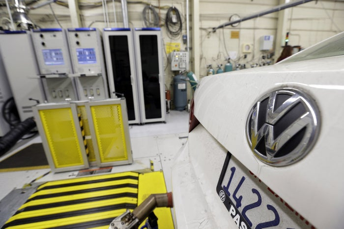 A 2013 Volkswagen Passat with a diesel engine is evaluated at the California Air Resources Board emissions test lab.