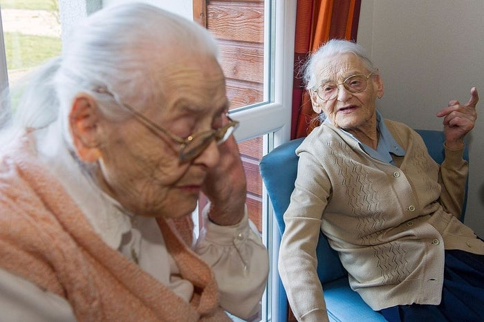 Paulette Olivier and Simone Thiot, at age 104, are believed to be the oldest twins in the world.