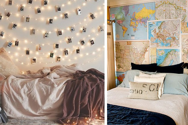 16 ideas geniales para decorar una pared en tu habitaci n - Decoracion de paredes con fotografias ...